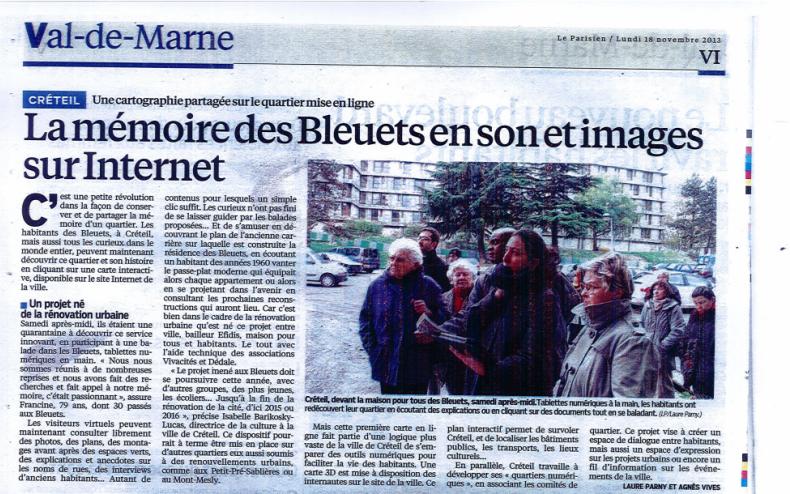 Cartographie partagée des Bleuets - Article du Parisien