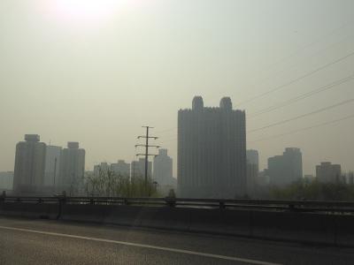Image du ciel de Pékin - La pollution est toujours bien visible dans la ville